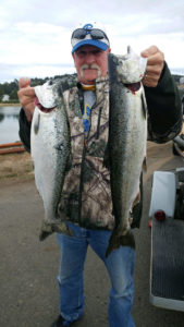Two Fall Chinook Salmon landed by Mark W. on the lower Nestucca River
